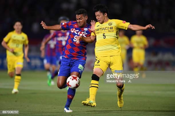 Wilson of Ventforet Kofu and Yuta Nakayama of Kashiwa Reysol during the JLeague J1 match between Ventforet Kofu and Kashiwa Reysol at Yamanashi Chuo...