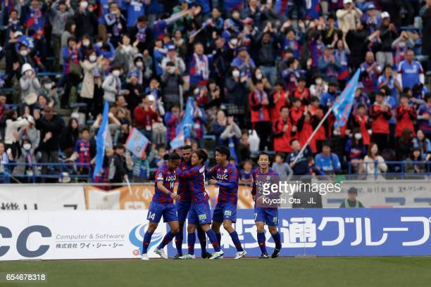 Wilson of Ventforet Kofu celebrates scoring the opening goal with his team mates during the JLeague J1 match between Ventforet Kofu and Omiya Ardija...