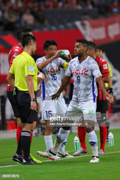 Wilson of Ventforet Kofu protests to referee Yudai Yamamoto during the JLeague J1 match between Consadole Sapporo and Ventforet Kofu at Sapporo Dome...