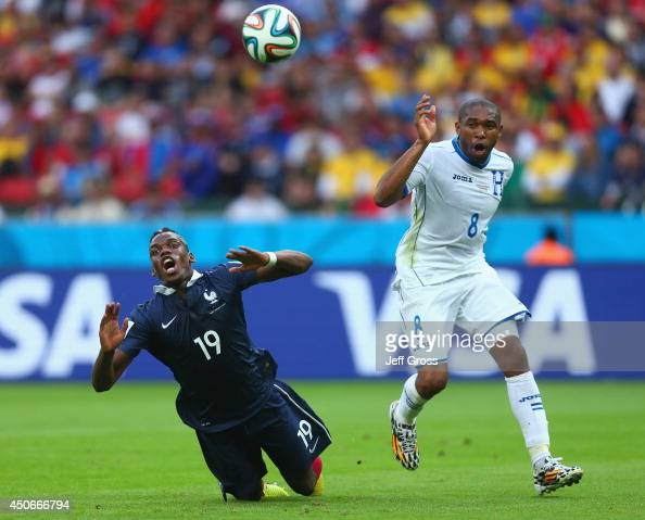 Wilson Palacios of Honduras fouls Paul Pogba of France resulting in a penalty kick during the 2014 FIFA World Cup Brazil Group E match between France...