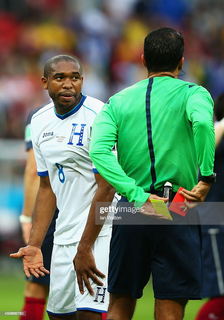 <a gi-track='captionPersonalityLinkClicked' href=/galleries/search?phrase=Wilson+Palacios&family=editorial&specificpeople=2309103 ng-click='$event.stopPropagation()'>Wilson Palacios</a> of Honduras is sent off by referee <a gi-track='captionPersonalityLinkClicked' href=/galleries/search?phrase=Sandro+Ricci&family=editorial&specificpeople=9145717 ng-click='$event.stopPropagation()'>Sandro Ricci</a> during the 2014 FIFA World Cup Brazil Group E match between France and Honduras at Estadio Beira-Rio on June 15, 2014 in Porto Alegre, Brazil.