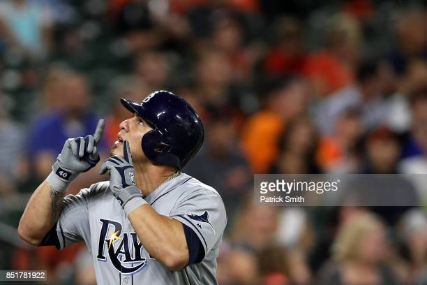 Wilson Ramos of the Tampa Bay Rays celebrates after hitting a grand slam home run during the second inning against the Baltimore Orioles at Oriole...