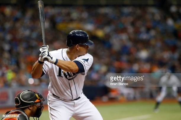 Wilson Ramos of the Tampa Bay Rays faces pitcher Dylan Bundy of the Baltimore Orioles as he bats during the fourth inning of a game on June 24 2017...