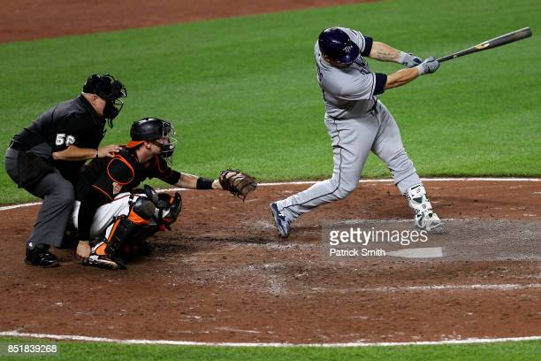 Wilson Ramos of the Tampa Bay Rays hits a double against the Baltimore Orioles during the eighth inning at Oriole Park at Camden Yards on September...