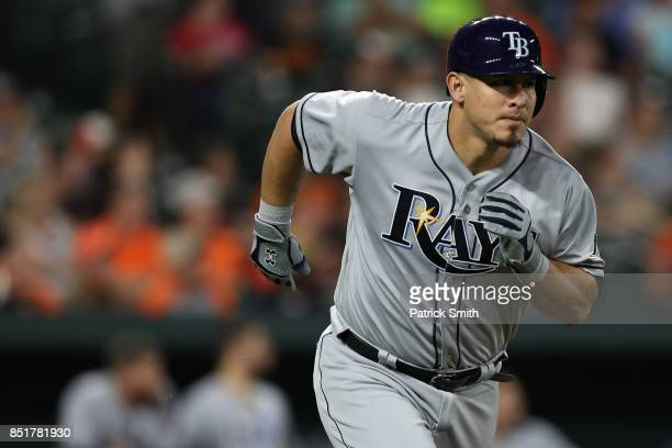 Wilson Ramos of the Tampa Bay Rays runs the bases after hitting a grand slam home run during the second inning against the Baltimore Orioles at...