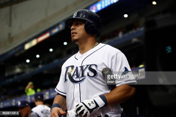 Wilson Ramos of the Tampa Bay Rays waits on deck to bat during the fourth inning of a game against the Baltimore Orioles on June 24 2017 at Tropicana...