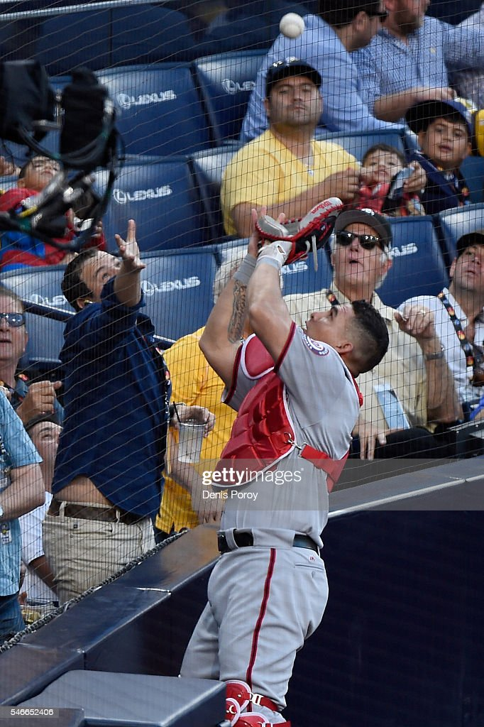 Wilson Ramos #40 of the Washington Nationals and the National League makes a play against the American League during the 87th Annual MLB All-Star Game at PETCO Park on July 12, 2016 in San Diego, California.