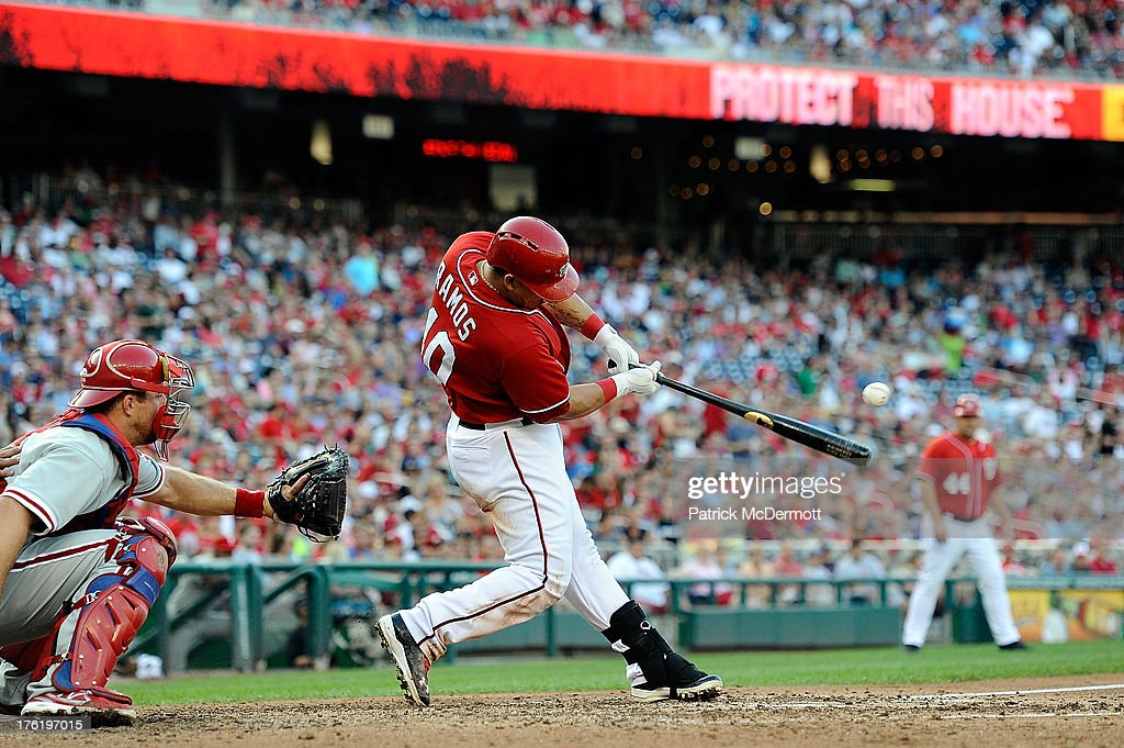 <a gi-track='captionPersonalityLinkClicked' href=/galleries/search?phrase=Wilson+Ramos&family=editorial&specificpeople=4866956 ng-click='$event.stopPropagation()'>Wilson Ramos</a> #40 of the Washington Nationals grounds out to second in the fifth inning during a game against the Philadelphia Phillies at Nationals Park on August 11, 2013 in Washington, DC.