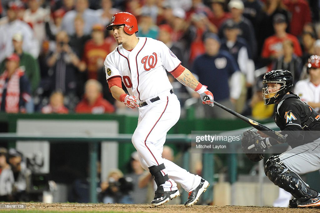 <a gi-track='captionPersonalityLinkClicked' href=/galleries/search?phrase=Wilson+Ramos&family=editorial&specificpeople=4866956 ng-click='$event.stopPropagation()'>Wilson Ramos</a> #40 of the Washington Nationals takes a swing during game two of a baseball game against the Miami Marlins on September 22, 2013 at Nationals Park in Washington, DC. The Nationals won 5-4.