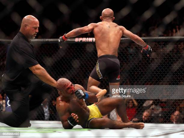 Wilson Reis is slow to get up after his loss to Demetrious Johnson during their Flyweight Championship bout on UFC Fight Night at the Sprint Center...