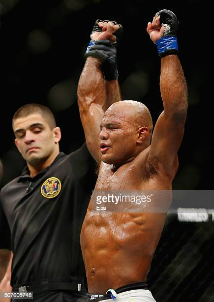 Wilson Reis of Brazil celebrates as he is announced winner by unanimous decision 3027 3027 3027 over Dustin Ortiz of the United States in their...