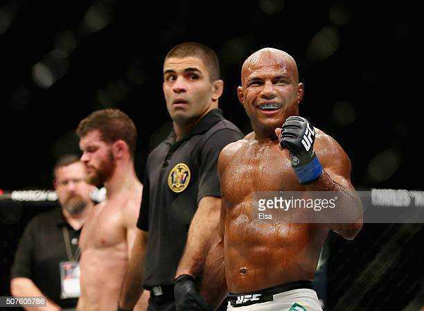 Wilson Reis of Brazil celebrates before he is announced winner by unanimous decision 3027 3027 3027 over Dustin Ortiz of the United States in their...