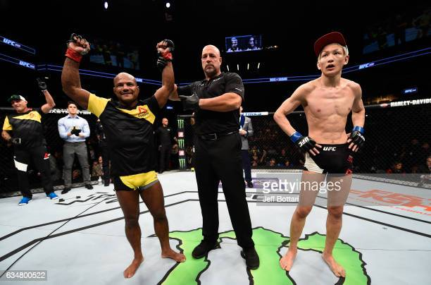 Wilson Reis of Brazil celebrates his victory over Ulka Sasaki of Japan in their flyweight bout during the UFC 208 event inside Barclays Center on...