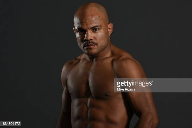 Wilson Reis of Brazil poses for a portrait backstage during the UFC 208 event inside Barclays Center on February 11 2017 in Brooklyn New York