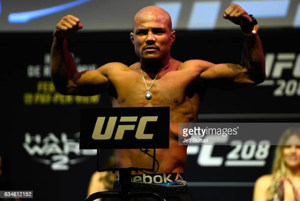 Wilson Reis of Brazil poses on the scale during the UFC 208 weighin inside Kings Theater on February 10 2017 in Brooklyn New York