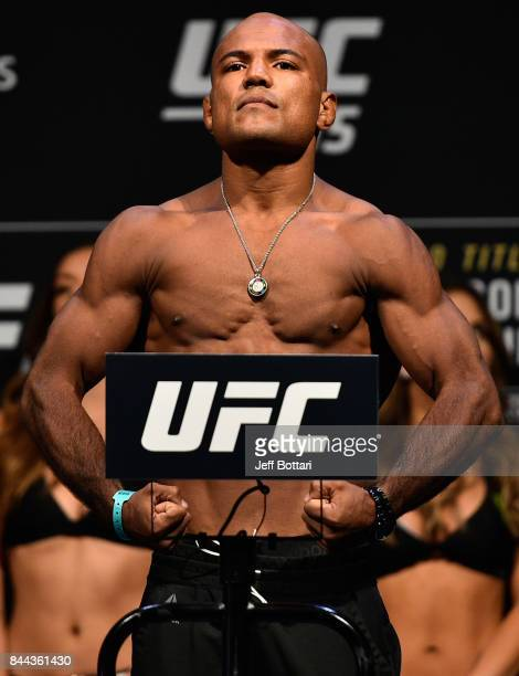 Wilson Reis of Brazil poses on the scale during the UFC 215 weighin inside the Rogers Place on September 8 2017 in Edmonton Alberta Canada