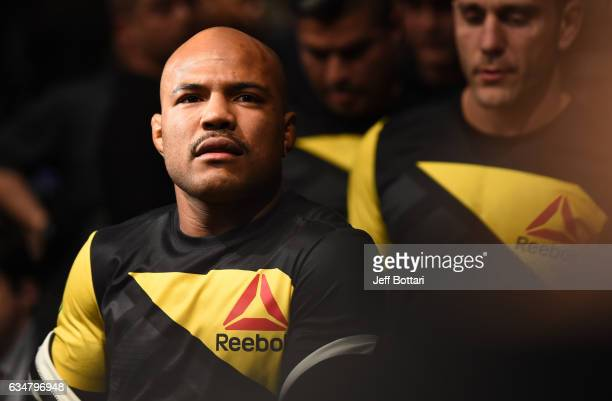 Wilson Reis of Brazil prepares to enter the Octagon before facing Ulka Sasaki of Japan in their flyweight bout during the UFC 208 event inside...