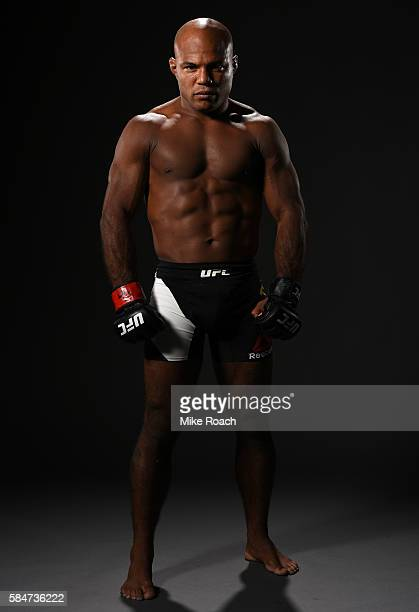 Wilson Reis poses for a post fight portrait backstage during the UFC 201 event on July 30 2016 at Philips Arena in Atlanta Georgia