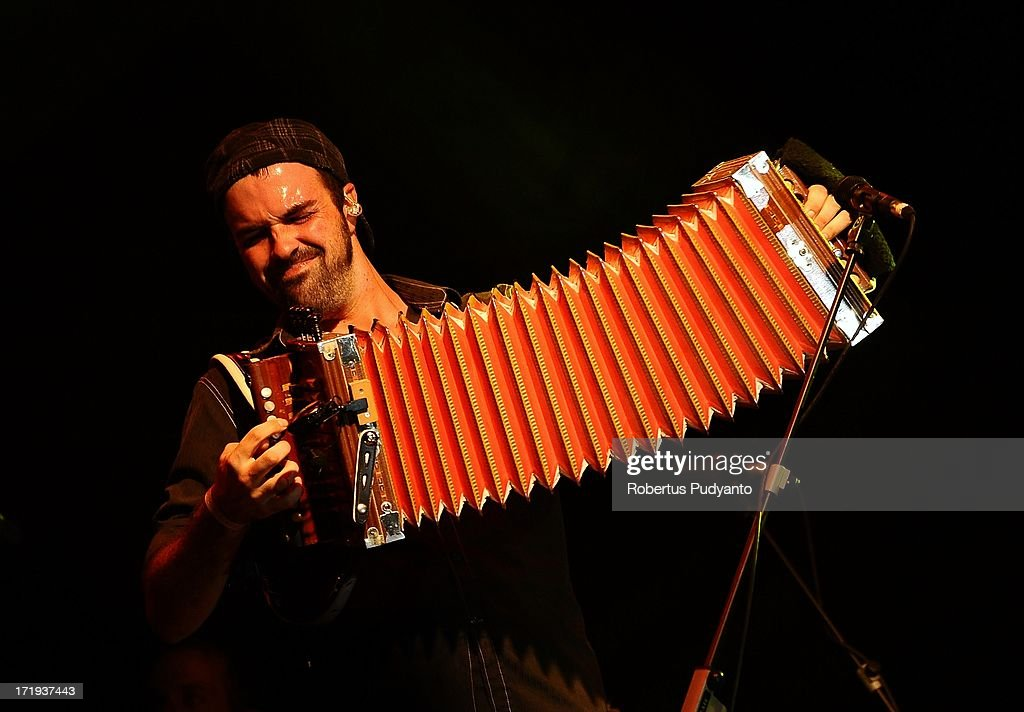 Wilson Savoy of Pine Leaf Boys of United Stated, which just won a Grammy 2013, playing accordion in Rainforest World Music Festival at Sarawak Cultural Village on June 29, 2013 in Kuching, Sarawak, Malaysia.
