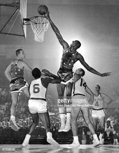 Wilt Chamberlain taps in a rebound for the AllStars against the Knicks at Madison Square Garden It was Chamberlain's last amateur appearance