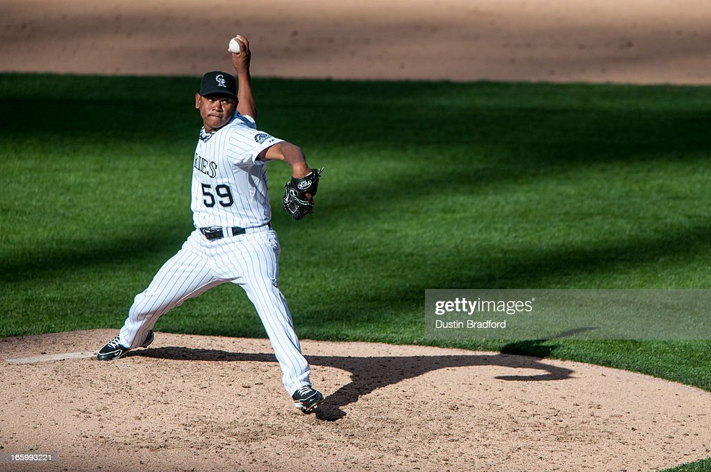 <a gi-track='captionPersonalityLinkClicked' href=/galleries/search?phrase=Wilton+Lopez&family=editorial&specificpeople=4901786 ng-click='$event.stopPropagation()'>Wilton Lopez</a> #59 of the Colorado Rockies pitches in the ninth inning against the San Diego Padres at Coors Field on April 7, 2013 in Denver, Colorado. The Rockies beat the Padres 9-1.