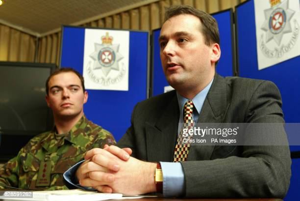 Wiltshire Police Detective Sergeant Andy Cross and Capt Mark Moutarde of the 1st Battalion Queen's Lancashire Regiment hold a press conference in...