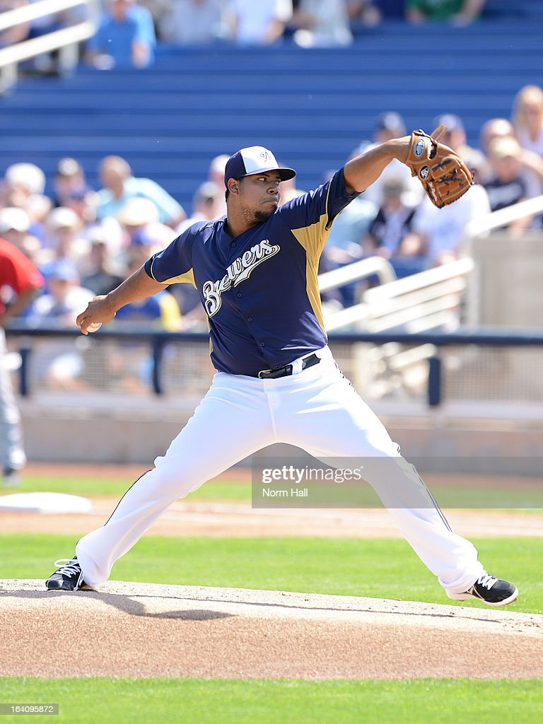 Wily Peralta #60 of the Milwaukee Brewers delivers a pitch against the Los Angeles Angels of Anaheim at Maryvale Baseball Park on March 19, 2013 in Maryvale, Arizona.
