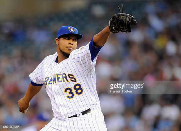 Wily Peralta of the Milwaukee Brewers delivers a pitch against the Minnesota Twins during the first inning of the game on June 5 2014 at Target Field...