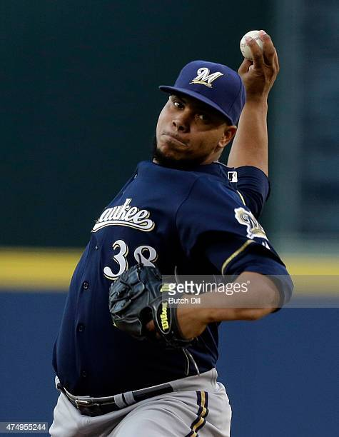 Wily Peralta of the Milwaukee Brewers pitches against the Atlanta Braves during the first inning of a baseball game on May 22 2015 at Turner Field in...