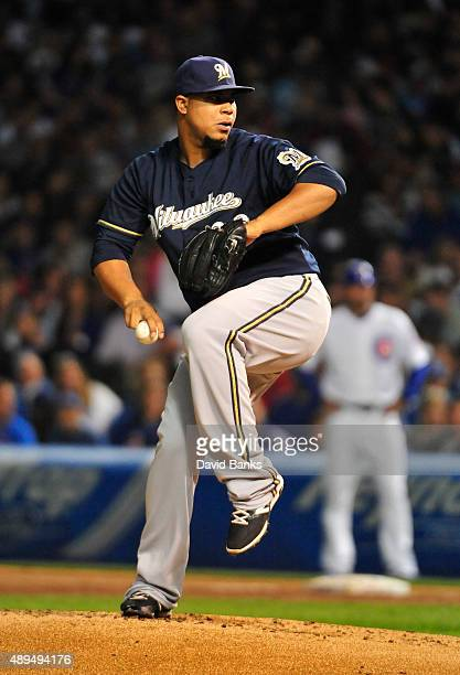 Wily Peralta of the Milwaukee Brewers pitches against the Chicago Cubs during the first inning on September 21 2015 at Wrigley Field in Chicago...
