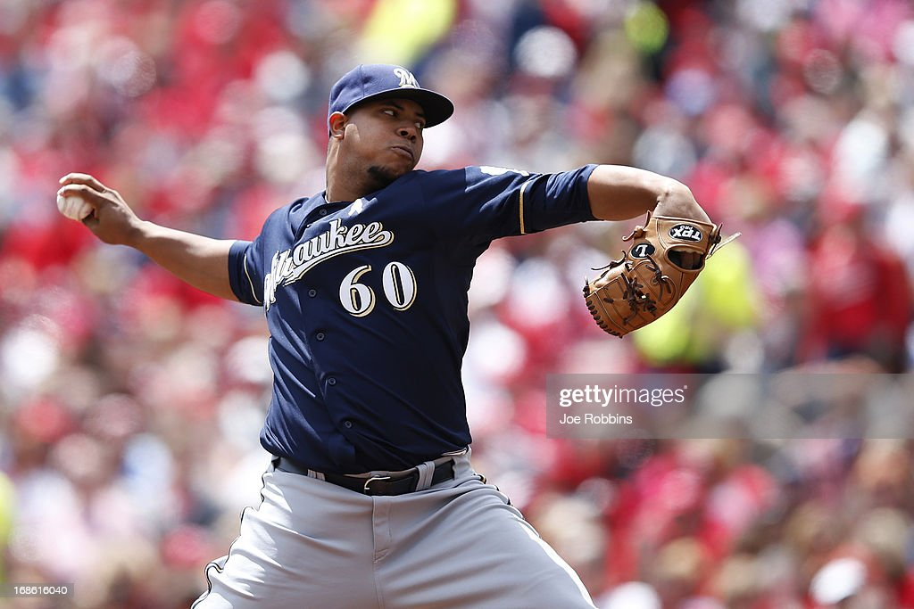 Wily Peralta #60 of the Milwaukee Brewers pitches against the Cincinnati Reds during the game at Great American Ball Park on May 12, 2013 in Cincinnati, Ohio.