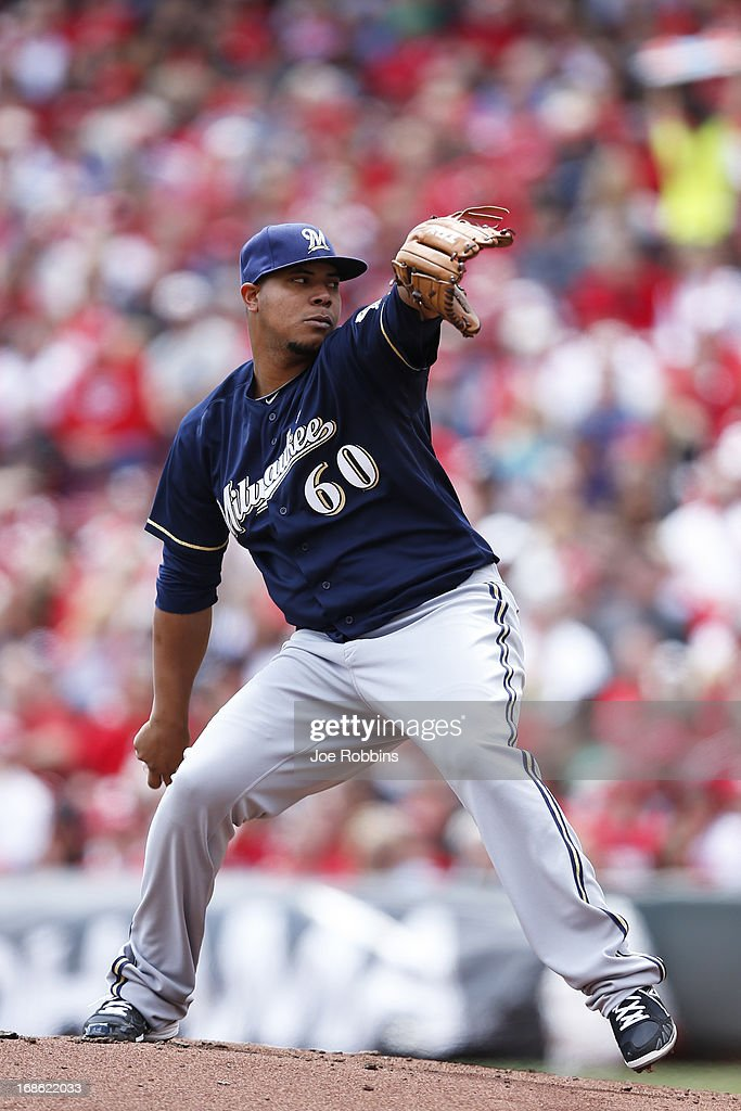 Wily Peralta #60 of the Milwaukee Brewers pitches against the Cincinnati Reds during the game at Great American Ball Park on May 12, 2013 in Cincinnati, Ohio. The Reds won 5-1.