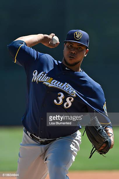 Wily Peralta of the Milwaukee Brewers pitches against the Los Angeles Dodgers on March 14 2016 in Glendale Arizona