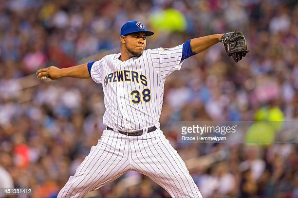 Wily Peralta of the Milwaukee Brewers pitches against the Minnesota Twins on June 5 2014 at Target Field in Minneapolis Minnesota The Brewers...