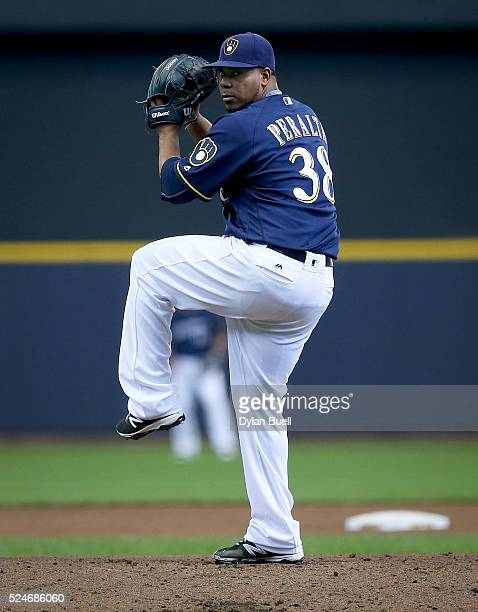Wily Peralta of the Milwaukee Brewers pitches against the Philadelphia Phillies at Miller Park on April 24 2016 in Milwaukee Wisconsin