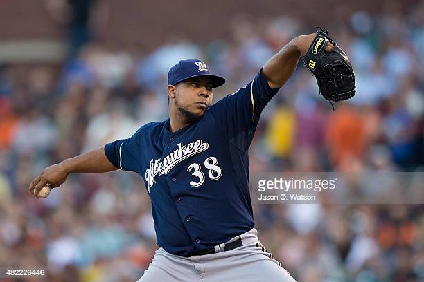 Wily Peralta of the Milwaukee Brewers pitches against the San Francisco Giants during the first inning at ATT Park on July 28 2015 in San Francisco...
