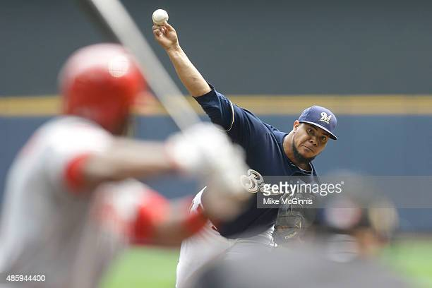 Wily Peralta of the Milwaukee Brewers pitches during the first inning against the Cincinnati Reds at Miller Park on August 30 2015 in Milwaukee...
