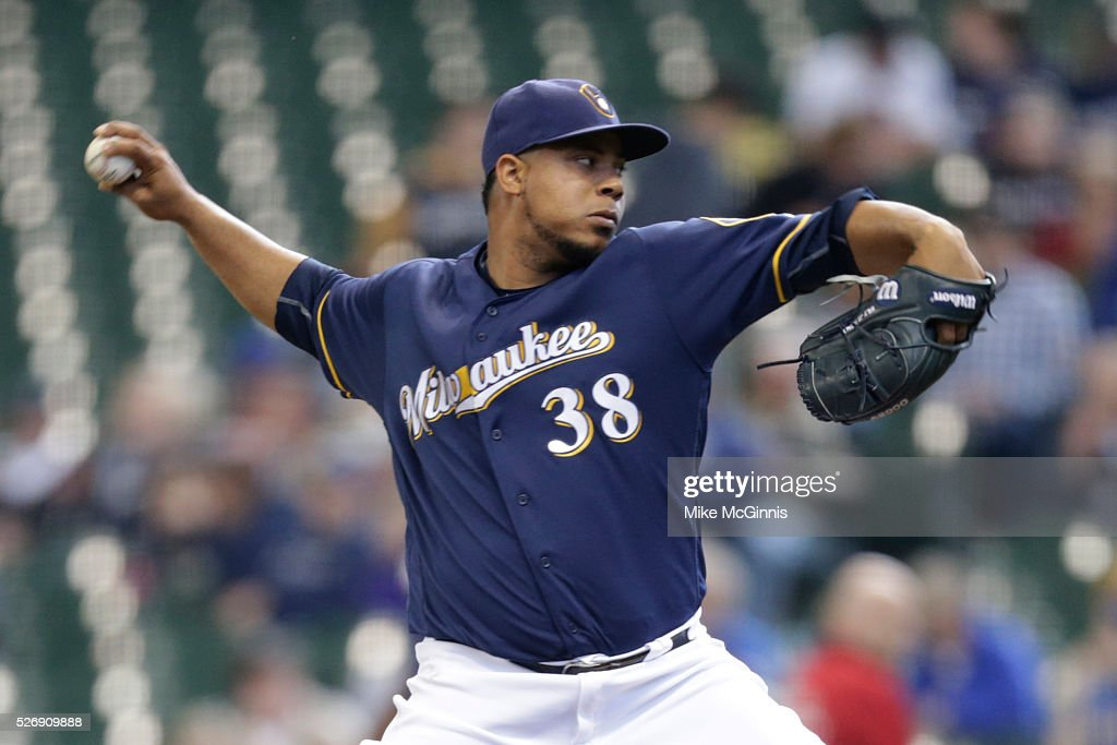 <a gi-track='captionPersonalityLinkClicked' href=/galleries/search?phrase=Wily+Peralta&family=editorial&specificpeople=7505871 ng-click='$event.stopPropagation()'>Wily Peralta</a> #38 of the Milwaukee Brewers pitches during the first inning against the Miami Marlins at Miller Park on May 01, 2016 in Milwaukee, Wisconsin.