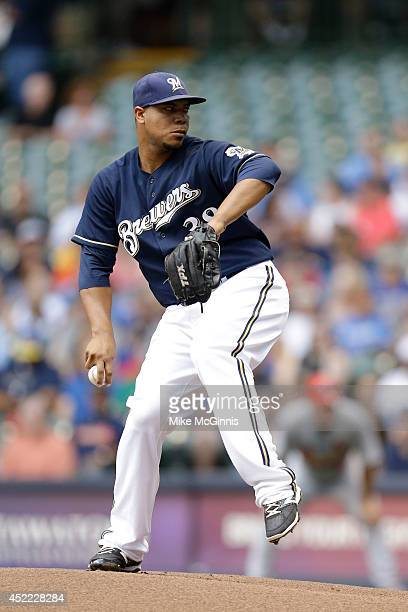 Wily Peralta of the Milwaukee Brewers pitches during the game against the St Louis Cardinals at Miller Park on July 13 2014 in Milwaukee Wisconsin
