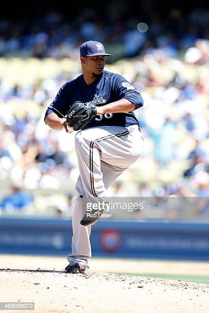 Wily Peralta of the Milwaukee Brewers pitches during the game against the Los Angeles Dodgers at Dodger Stadium on August 17 2014 in Los Angeles...