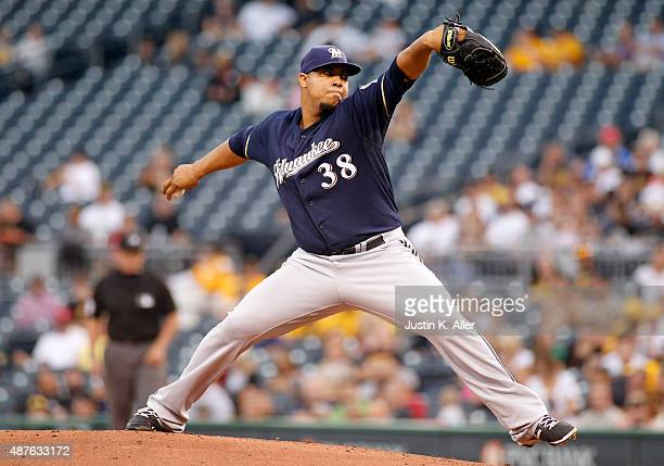 Wily Peralta of the Milwaukee Brewers pitches in the first inning during the game against the Pittsburgh Pirates at PNC Park on September 10 2015 in...