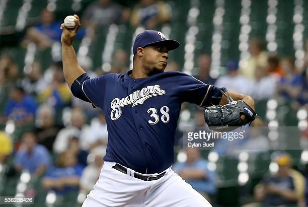 Wily Peralta of the Milwaukee Brewers pitches in the first inning against the St Louis Cardinals at Miller Park on May 31 2016 in Milwaukee Wisconsin