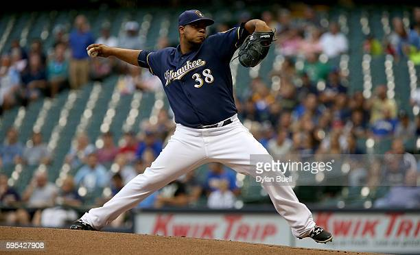 Wily Peralta of the Milwaukee Brewers pitches in the first inning against the Pittsburgh Pirates at Miller Park on August 25 2016 in Milwaukee...