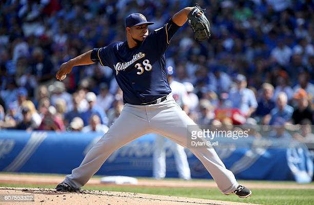 Wily Peralta of the Milwaukee Brewers pitches in the first inning against the Chicago Cubs at Wrigley Field on September 18 2016 in Chicago Illinois