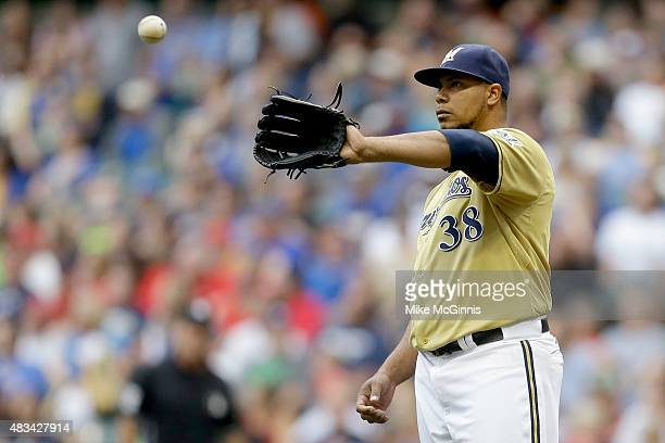 Wily Peralta of the Milwaukee Brewers pitches in the second inning against the St Louis Cardinals at Miller Park on August 08 2015 in Milwaukee...