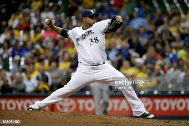 Wily Peralta of the Milwaukee Brewers pitches in the seventh inning against the Pittsburgh Pirates at Miller Park on June 19 2017 in Milwaukee...