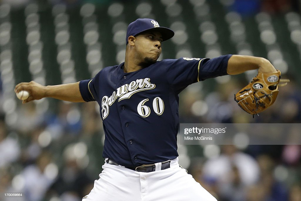 Wily Peralta #60 of the Milwaukee Brewers pitches in the top of the first inning against the Philadelphia Phillies during the game at Miller Park on June 06, 2013 in Milwaukee, Wisconsin.
