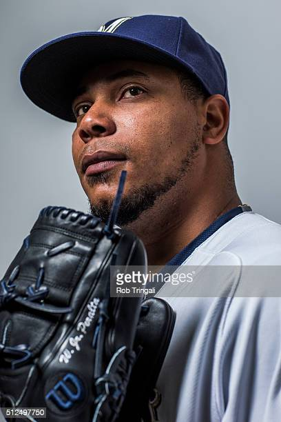 Wily Peralta of the Milwaukee Brewers poses during photo day at the Maryvale sports complex on February 26 2016 in Maryvale Arizona