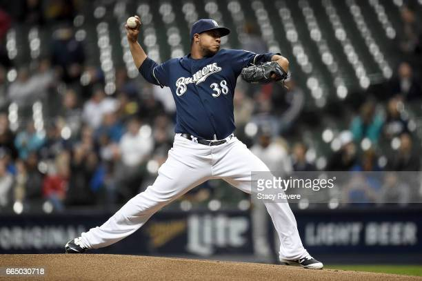 Wily Peralta of the Milwaukee Brewers throws a pitch during the first inning of a game against the Colorado Rockies at Miller Park on April 5 2017 in...