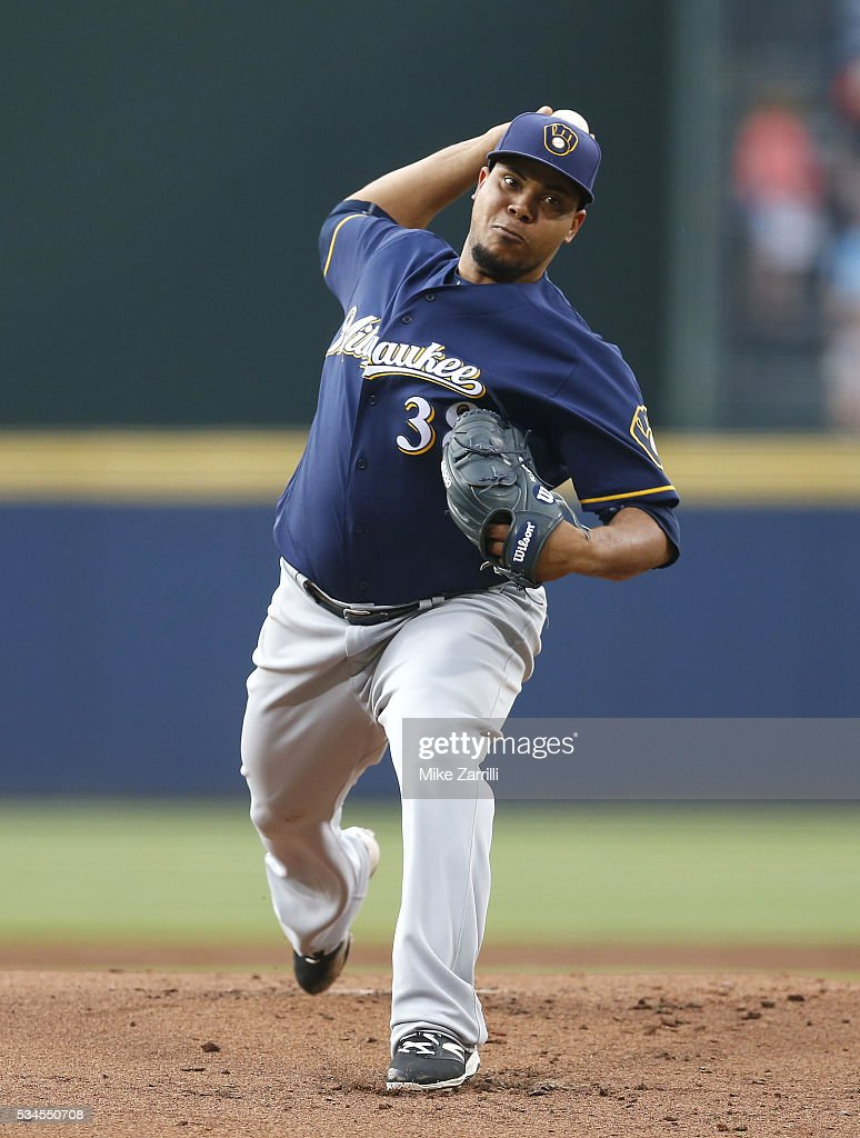 <a gi-track='captionPersonalityLinkClicked' href=/galleries/search?phrase=Wily+Peralta&family=editorial&specificpeople=7505871 ng-click='$event.stopPropagation()'>Wily Peralta</a> #38 of the Milwaukee Brewers throws a pitch in the first inning during the game against the Atlanta Braves at Turner Field on May 26, 2016 in Atlanta, Georgia.